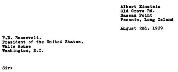 An analysis of the letter of albert einstein to president franklin d roosevelt